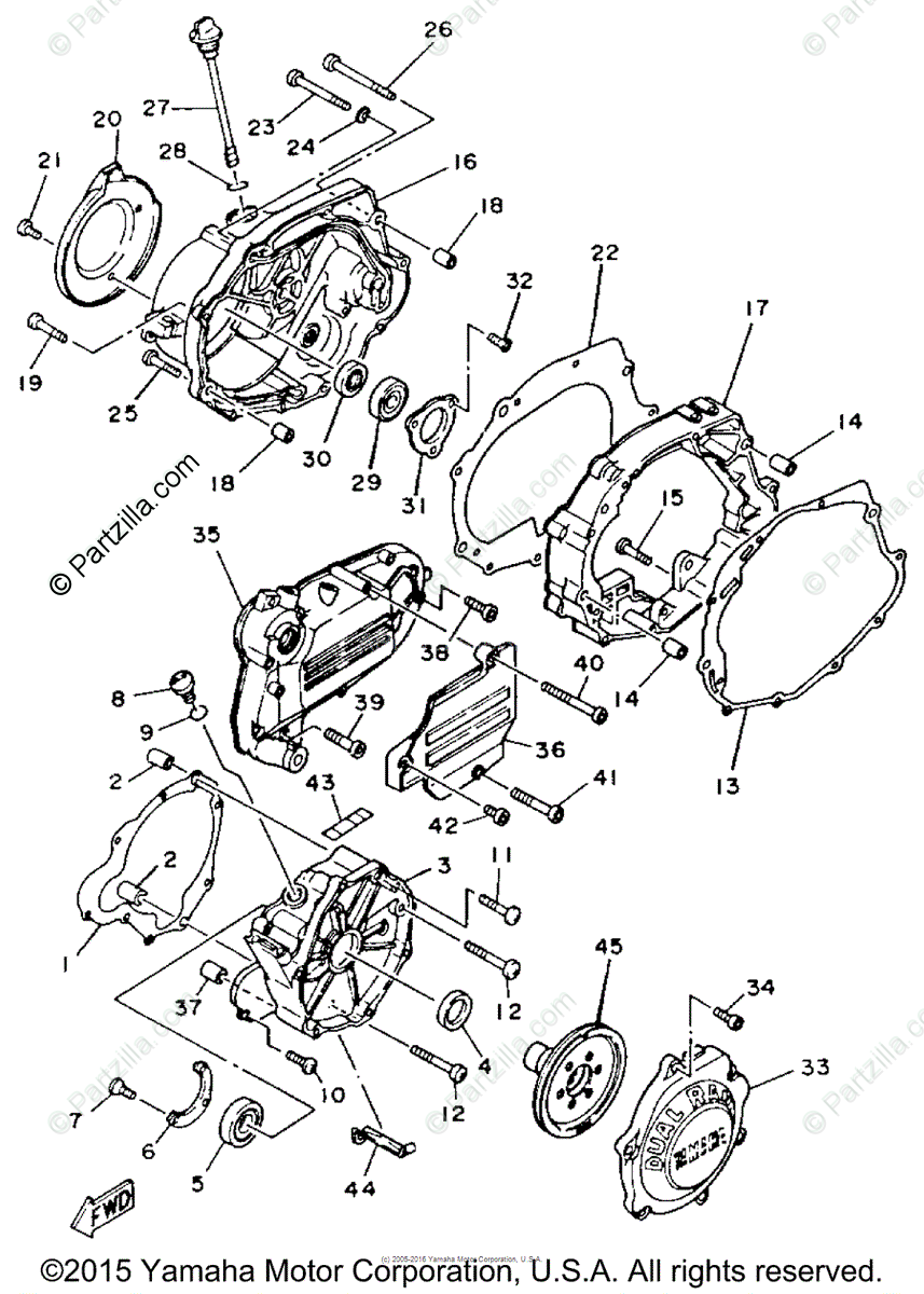 Yamaha ATV 1986 OEM Parts Diagram for Crankcase Cover (1