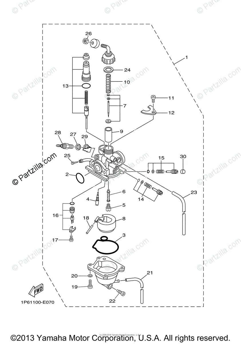 Yamaha Motorcycle 2007 OEM Parts Diagram for Carburetor