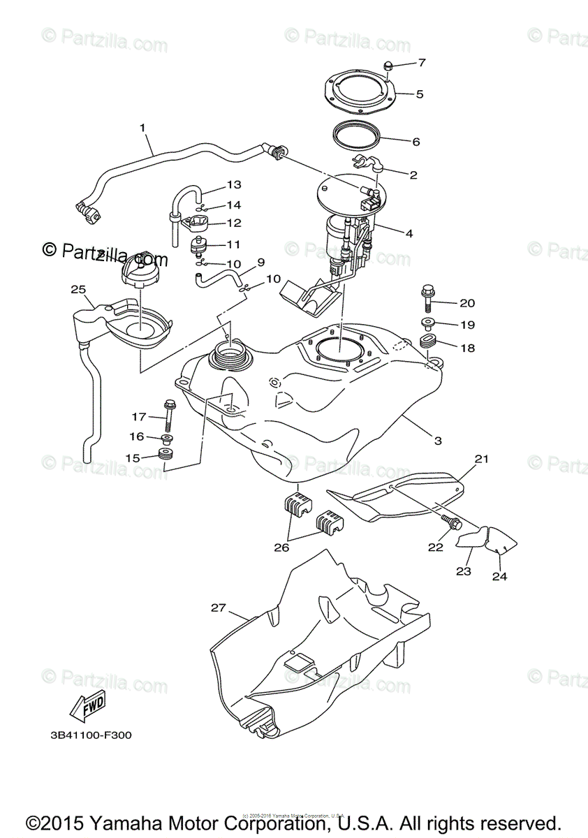 Yamaha ATV 2007 OEM Parts Diagram for Fuel Tank