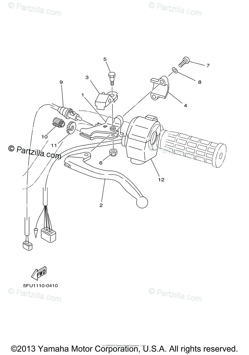 Yamaha ATV 2000 OEM Parts Diagram for Handle Switch-Lever