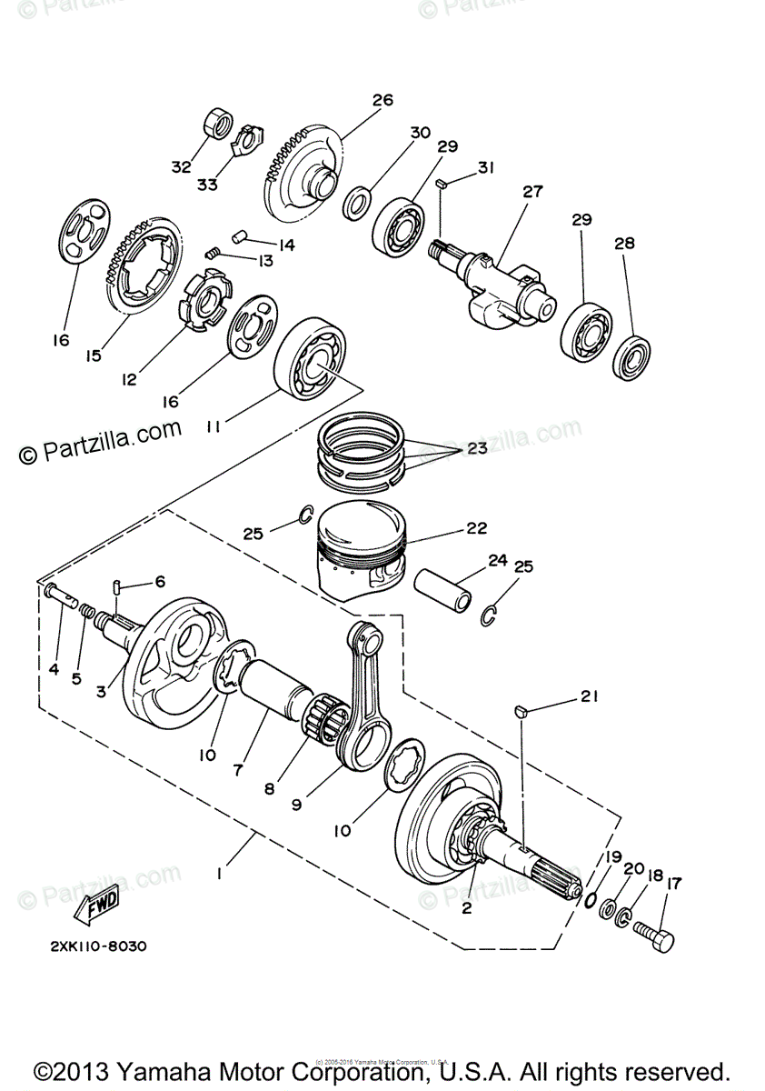 Yamaha ATV 2006 OEM Parts Diagram for Crankshaft Piston