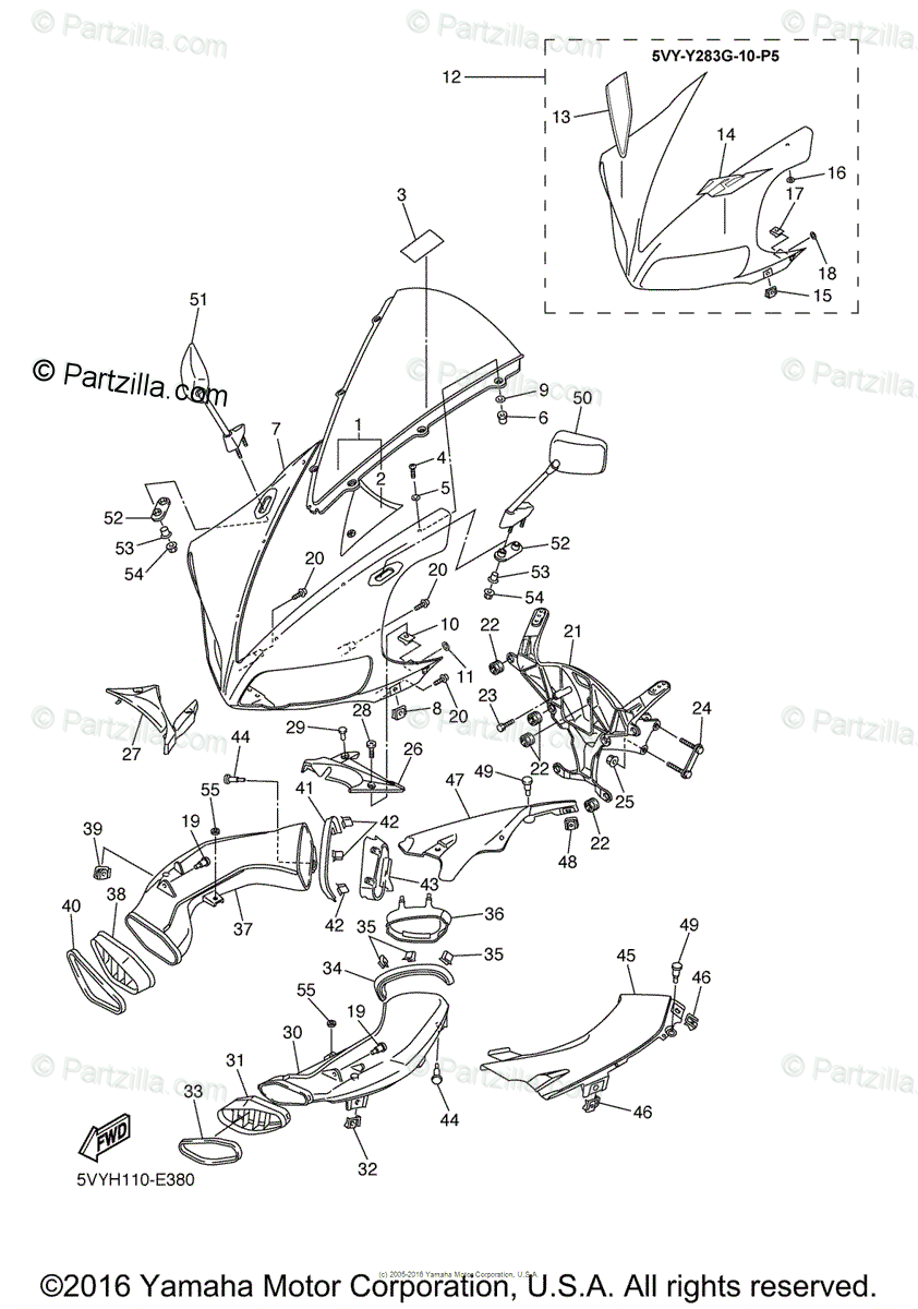 Yamaha Motorcycle 2006 OEM Parts Diagram for Cowling 1