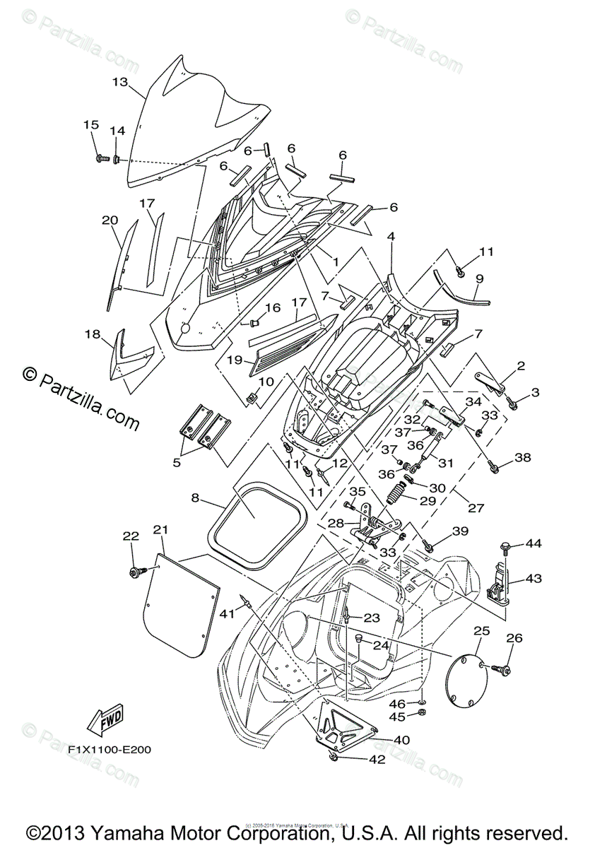 Yamaha Waverunner 2006 OEM Parts Diagram for Engine Hatch