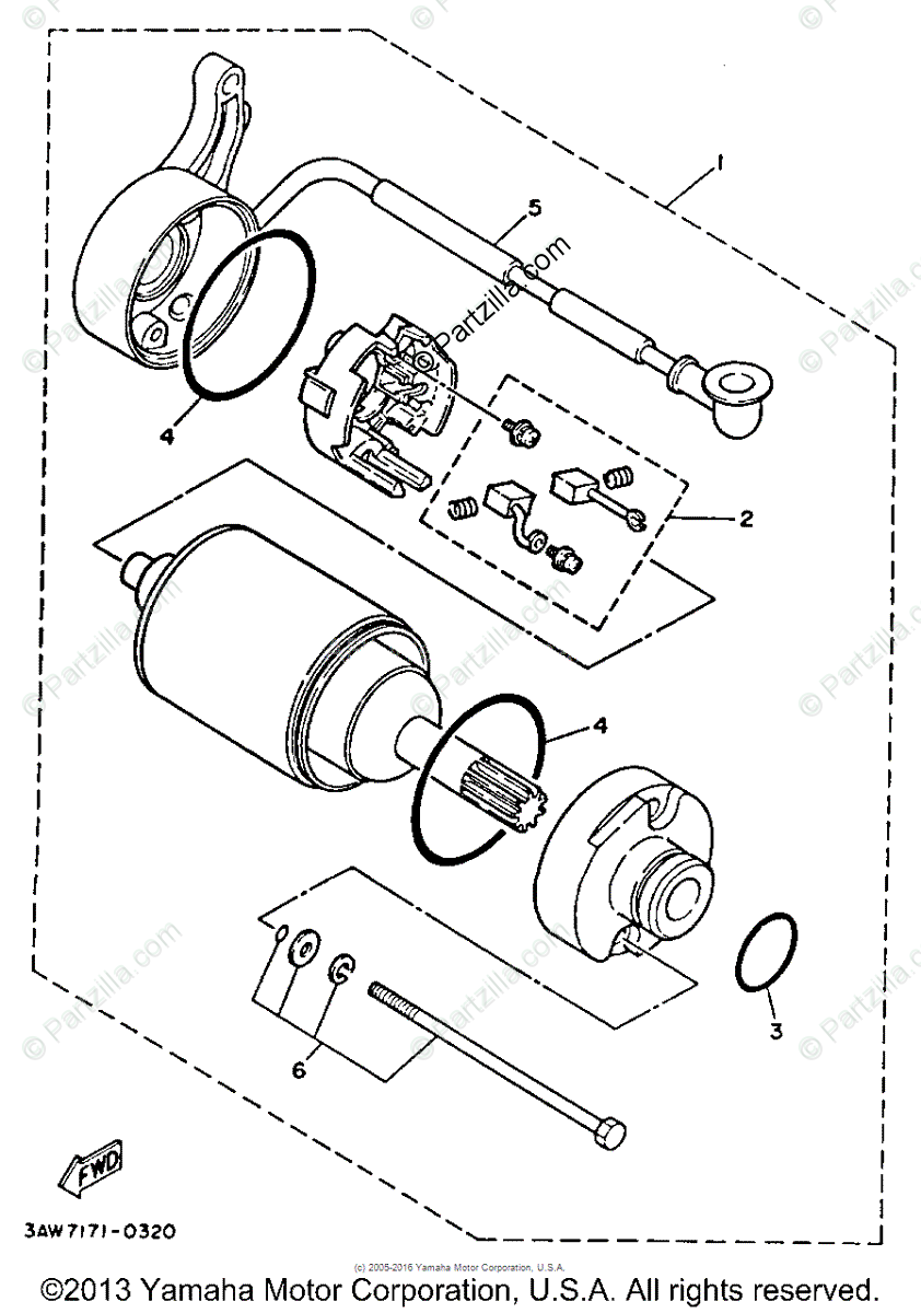 Yamaha Motorcycle 1988 OEM Parts Diagram for STARTING