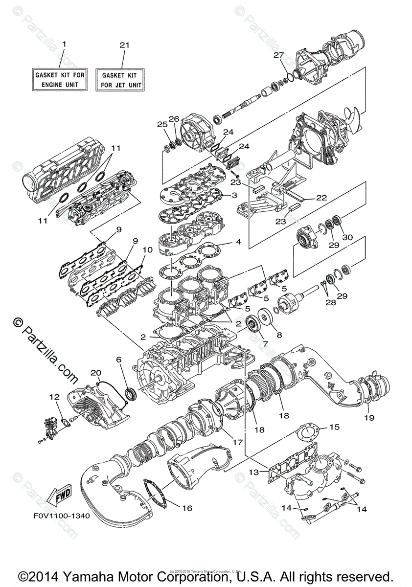 Yamaha Waverunner 2002 OEM Parts Diagram for Repair Kit 1