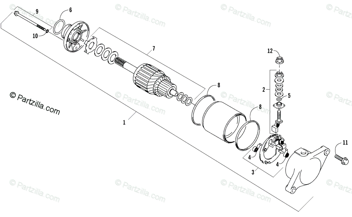 Arctic Cat ATV 2006 OEM Parts Diagram for Starter Motor