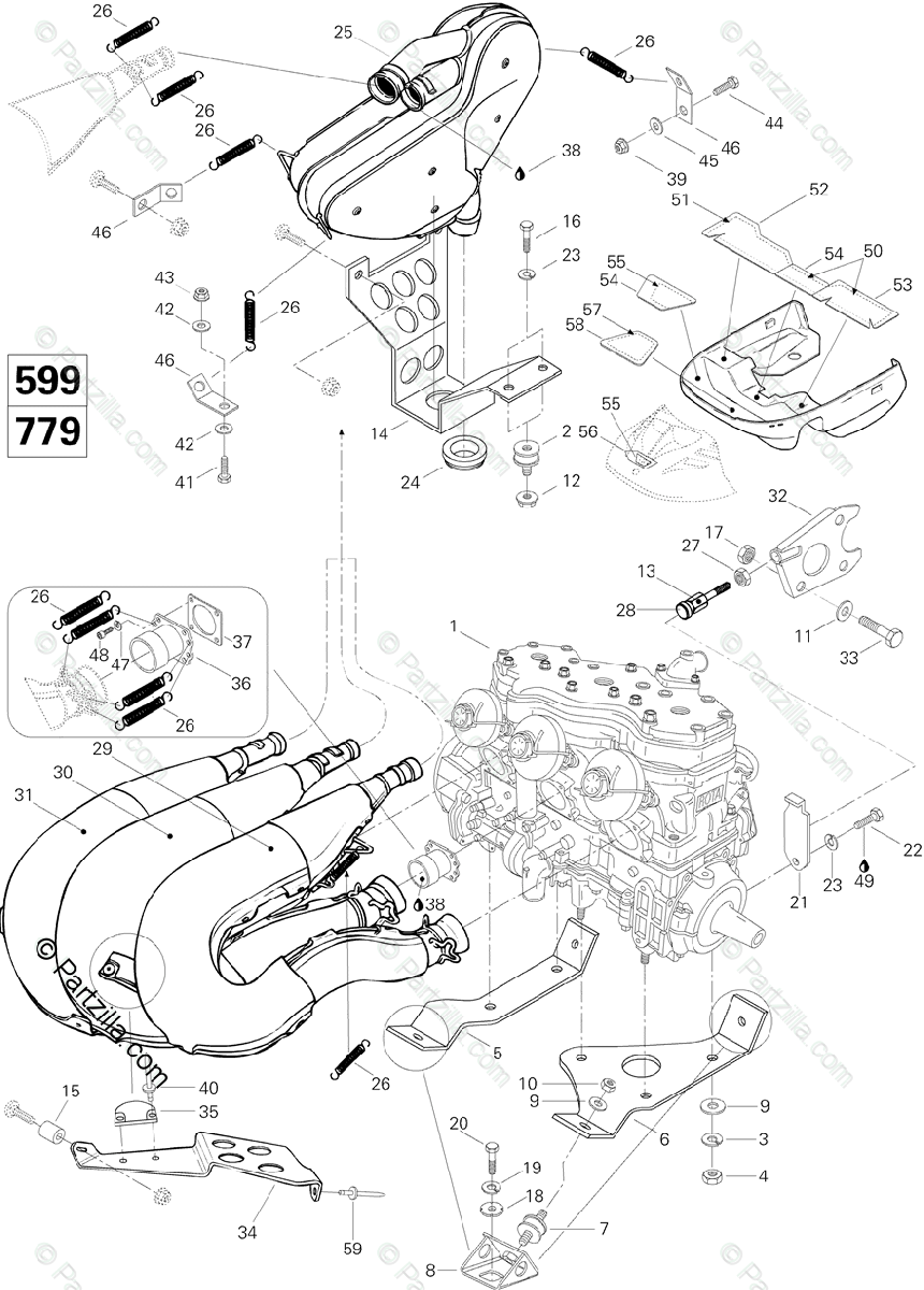 Ski-Doo 1996 MACH Z OEM Parts Diagram for Engine And
