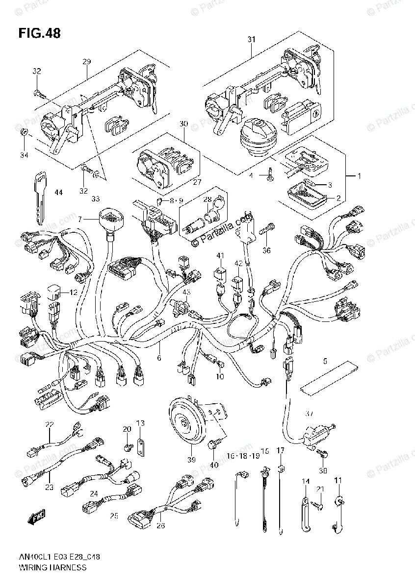 Suzuki Scooters 2011 OEM Parts Diagram for Wiring Harness