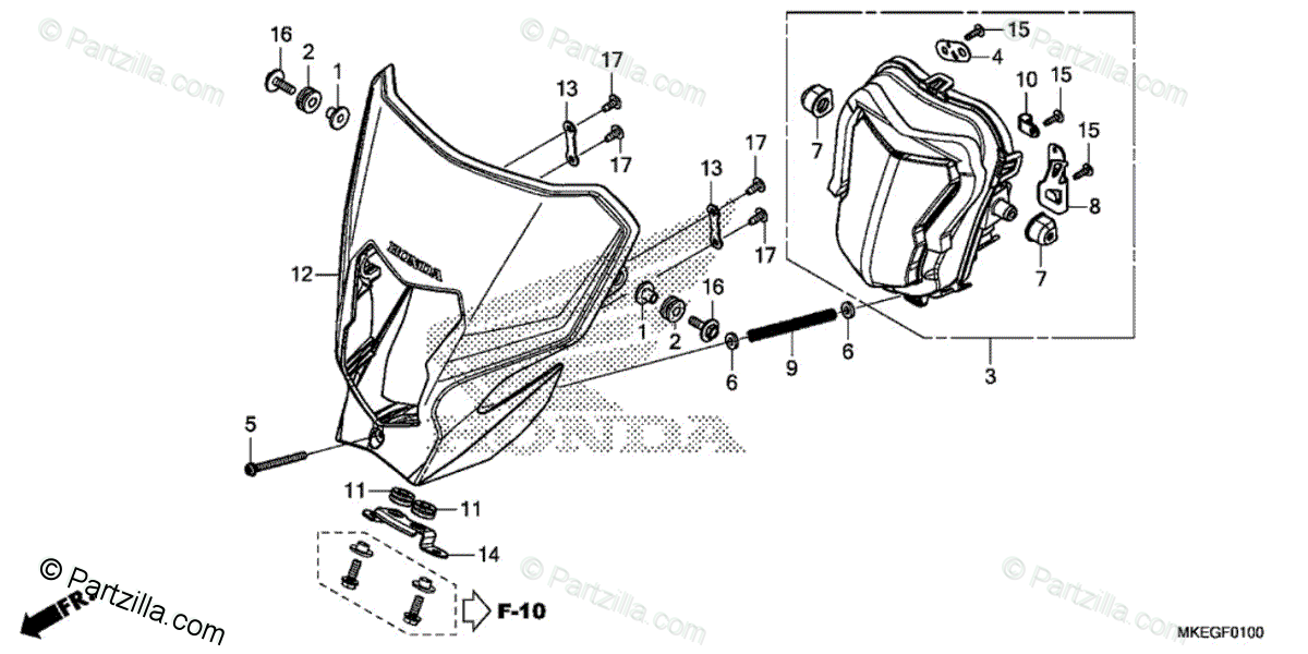 Honda Motorcycle 2019 OEM Parts Diagram for Headlight