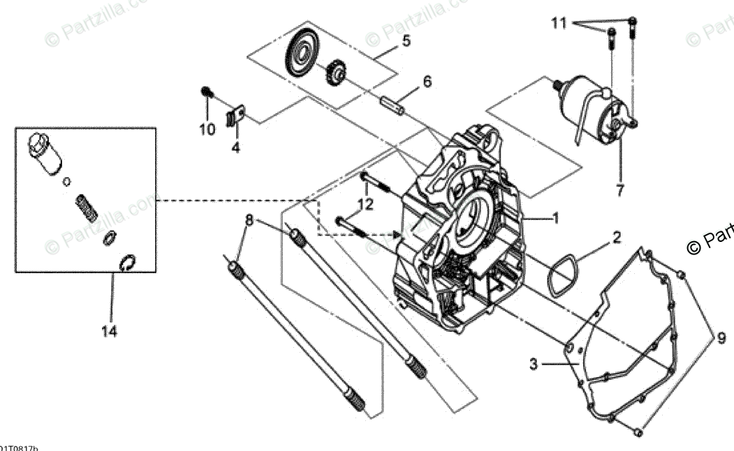 Can-Am ATV 2008 OEM Parts Diagram for Right Crankcase Half