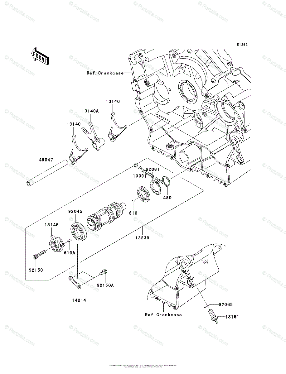 Kawasaki Motorcycle 2006 OEM Parts Diagram for Gear Change