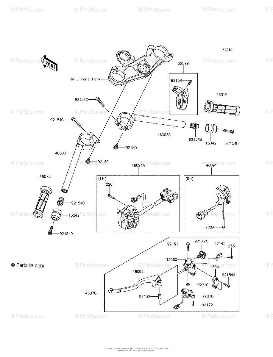 Kawasaki Motorcycle 2017 OEM Parts Diagram for Handlebar