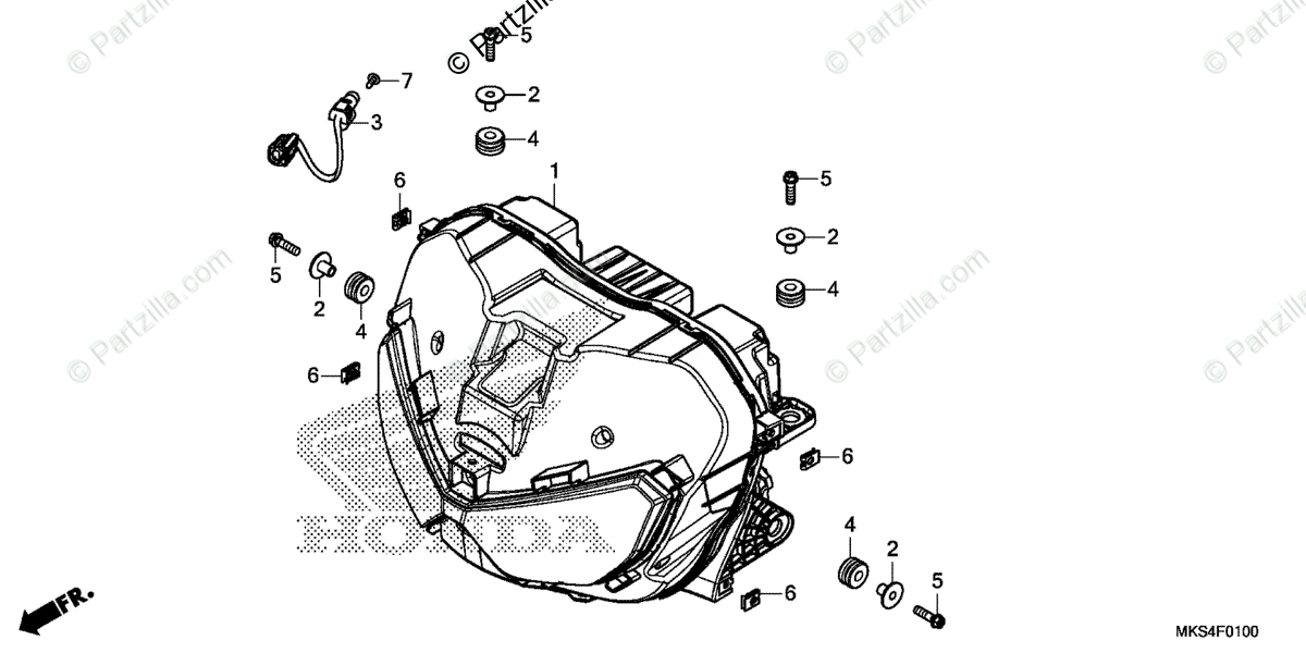 Honda Motorcycle 2020 OEM Parts Diagram for Headlight 1