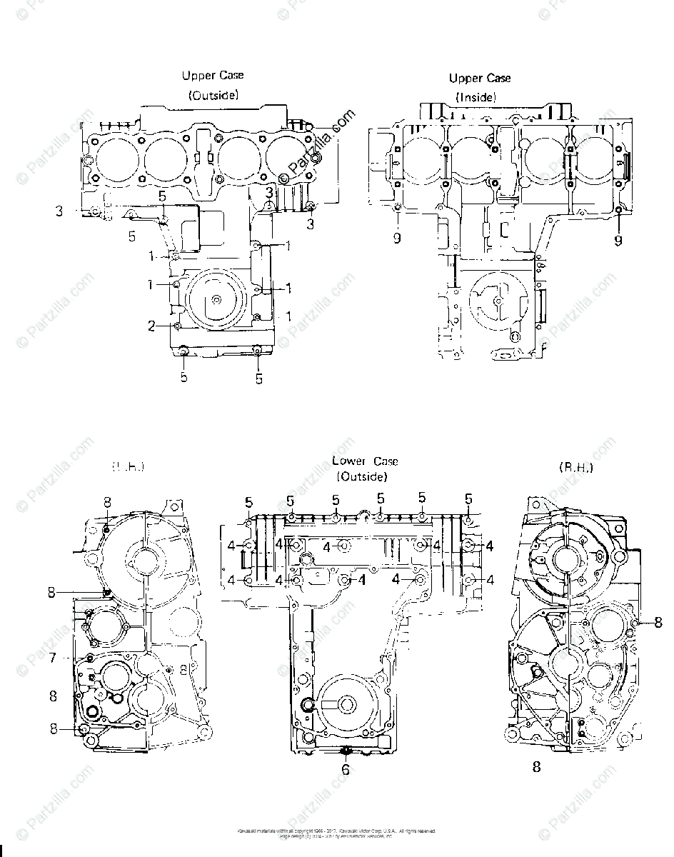 Kawasaki Motorcycle 1981 OEM Parts Diagram for CRANKCASE