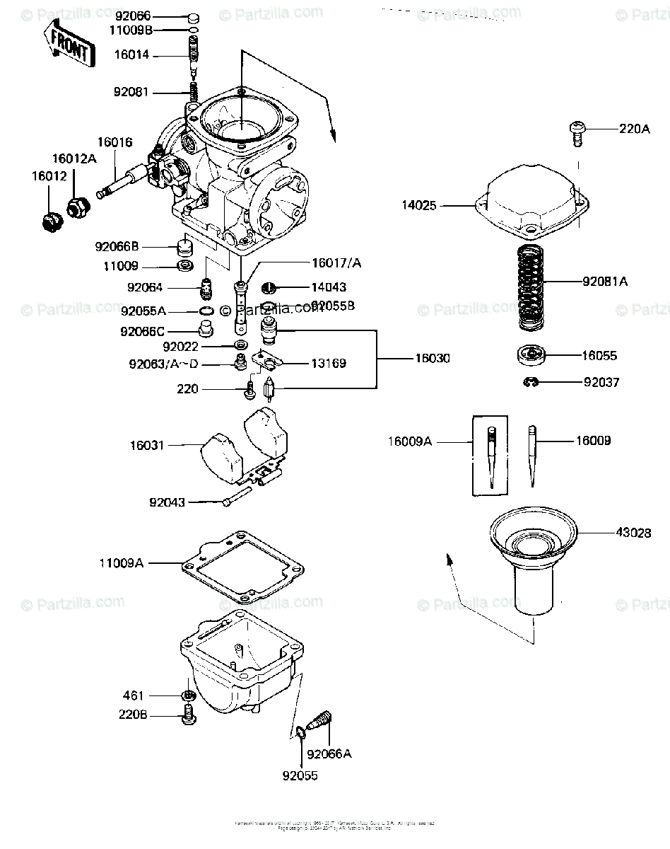 Kawasaki Motorcycle 1982 OEM Parts Diagram for Carburetor