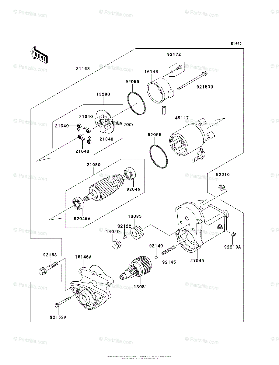 Kawasaki Side by Side 2012 OEM Parts Diagram for Starter