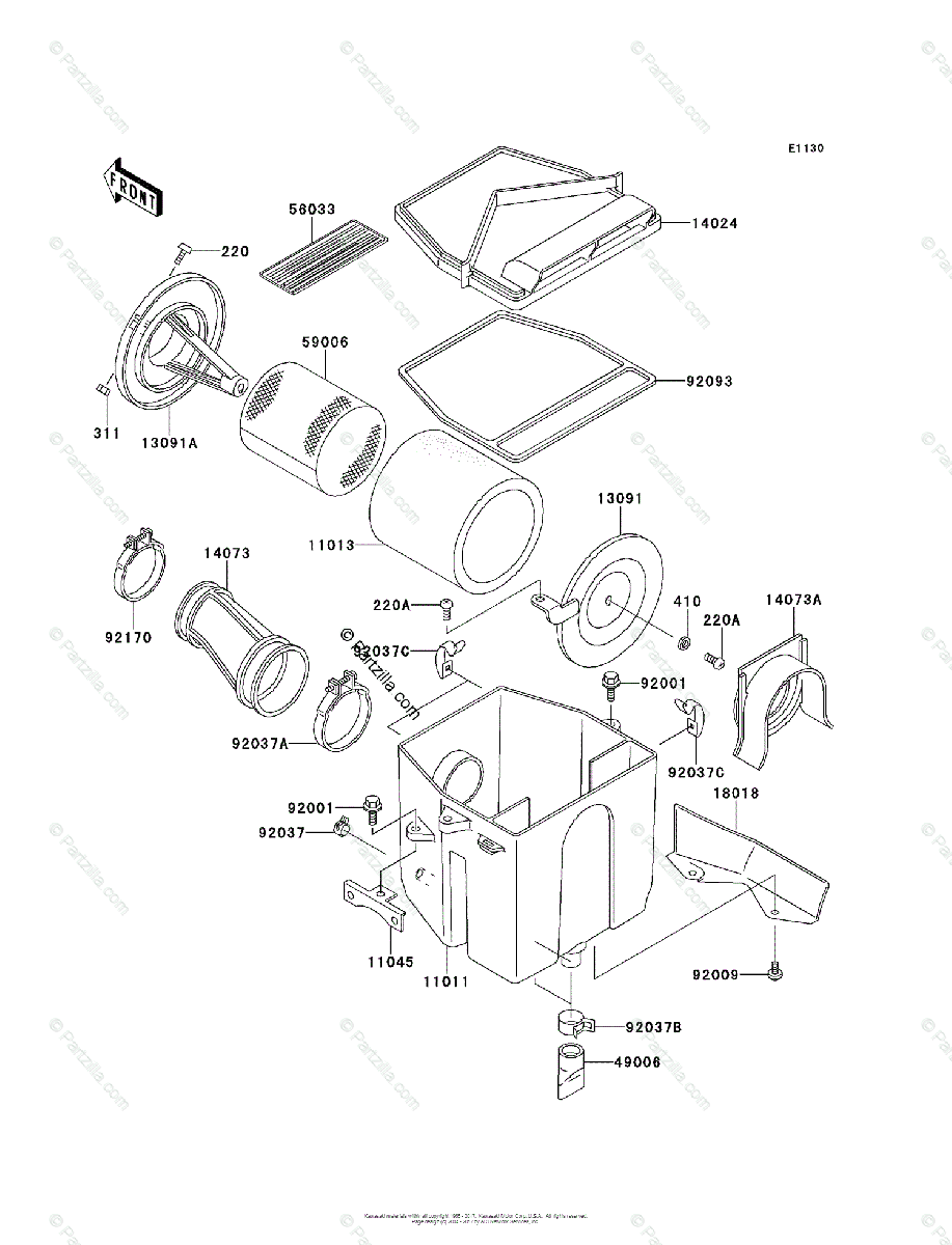 Kawasaki ATV 2003 OEM Parts Diagram for Air Cleaner