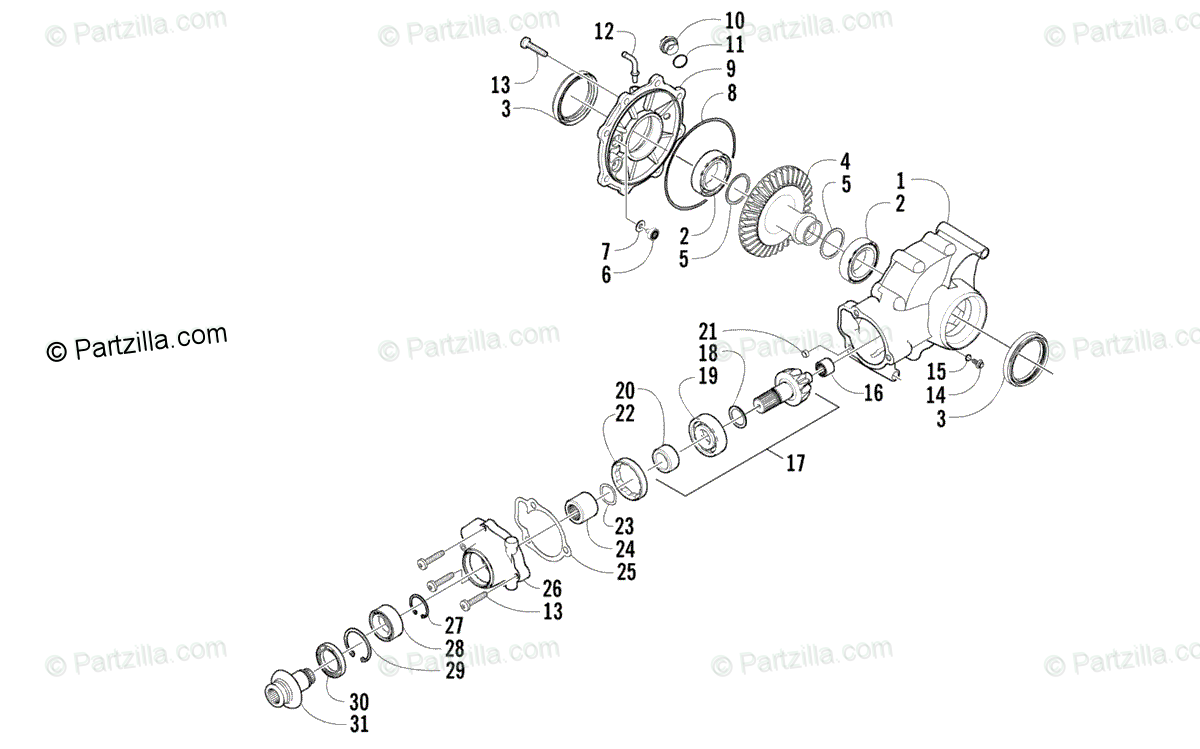 Arctic Cat ATV 2006 OEM Parts Diagram for Rear Drive