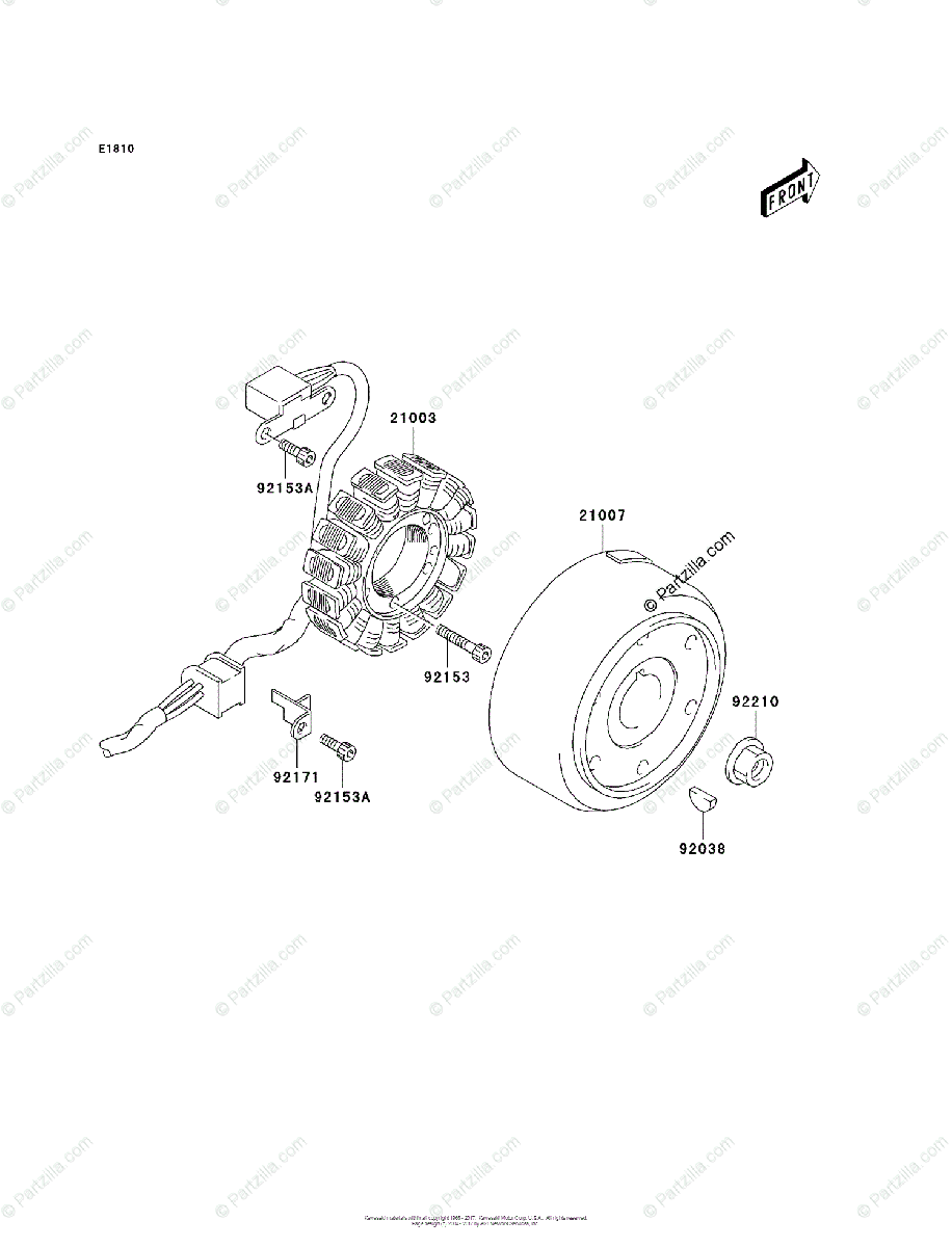 Kawasaki ATV 2006 OEM Parts Diagram for Generator