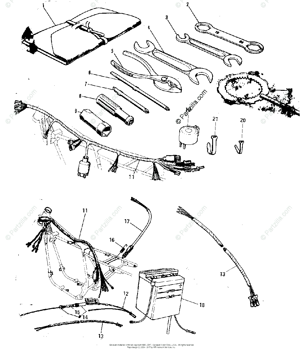 Kawasaki Motorcycle 1974 OEM Parts Diagram for CHASSIS
