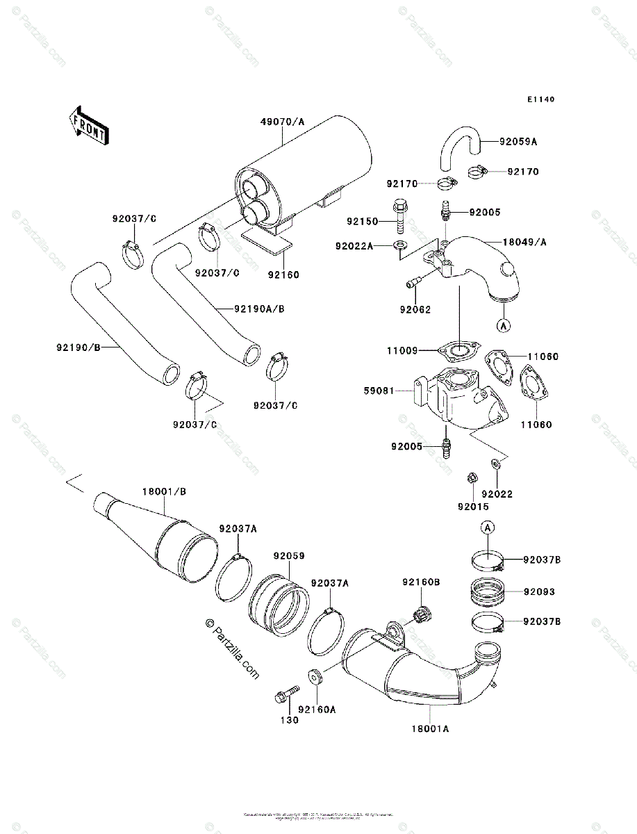 Kawasaki Jet Ski 1991 OEM Parts Diagram for Muffler(s