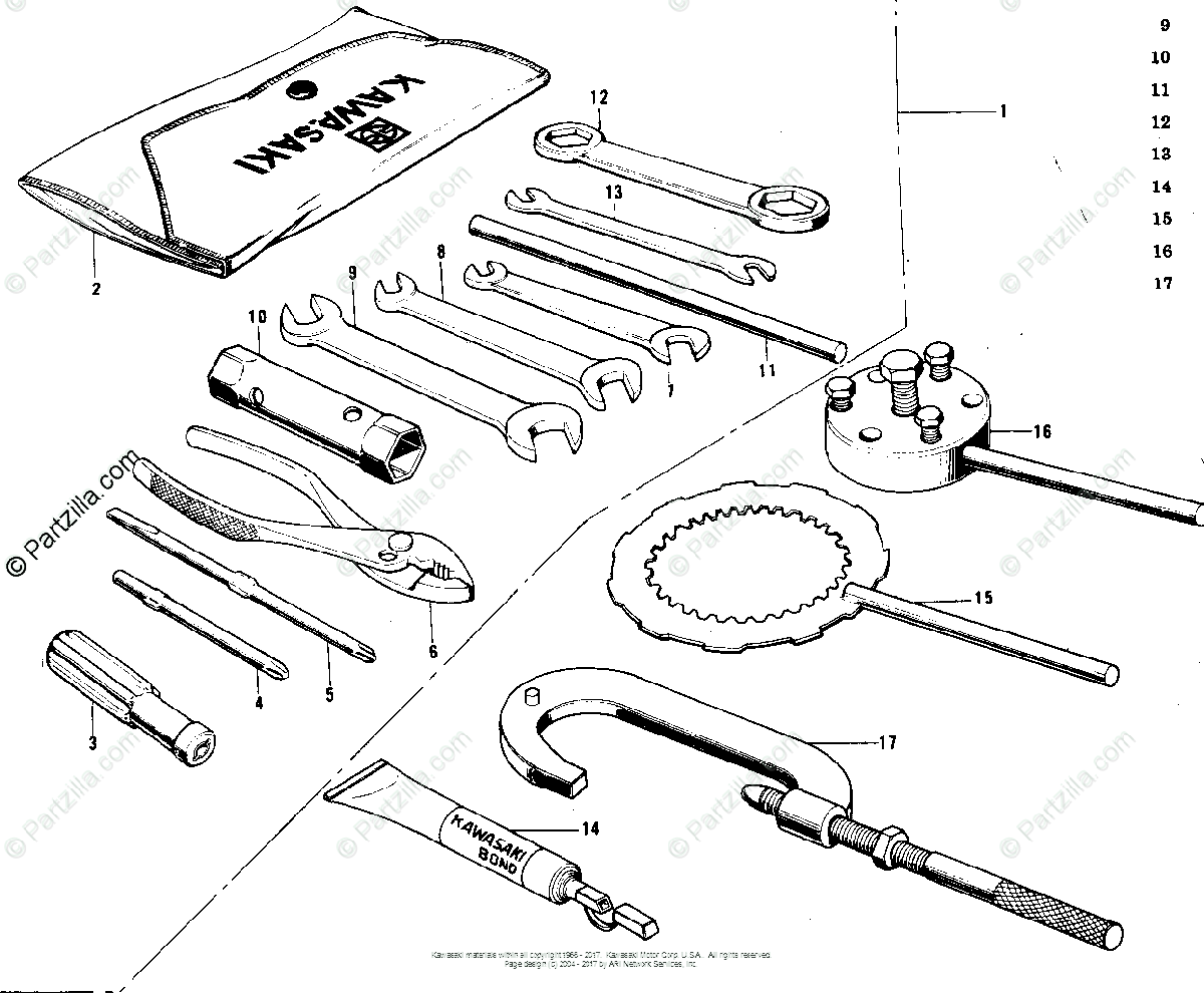 Kawasaki Motorcycle 1973 OEM Parts Diagram for OWNER TOOLS