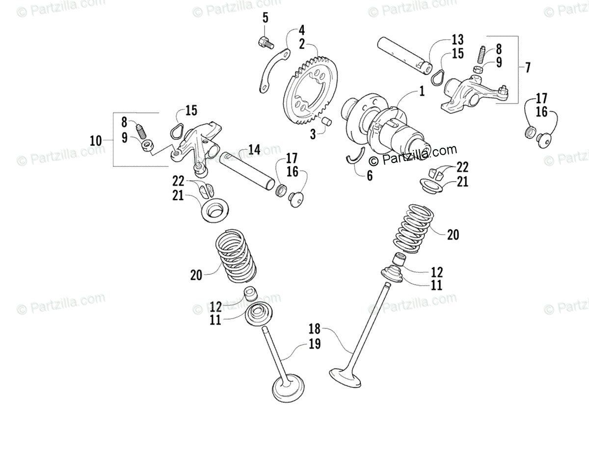 Arctic Cat ATV 2004 OEM Parts Diagram for Camshaft/Valve