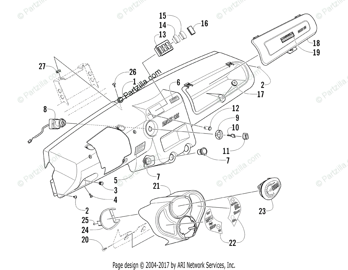 Arctic Cat Side by Side 2010 OEM Parts Diagram for DASH