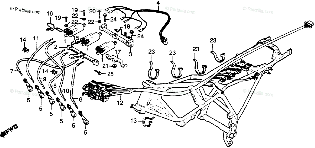 Honda Motorcycle 1979 OEM Parts Diagram for Wire Harness