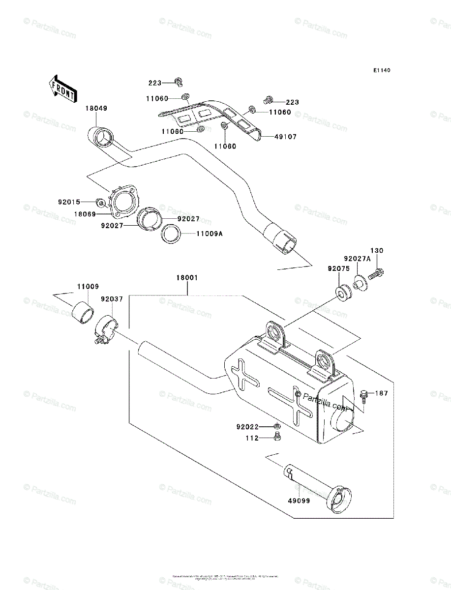 Kawasaki ATV 2003 OEM Parts Diagram for Muffler(s