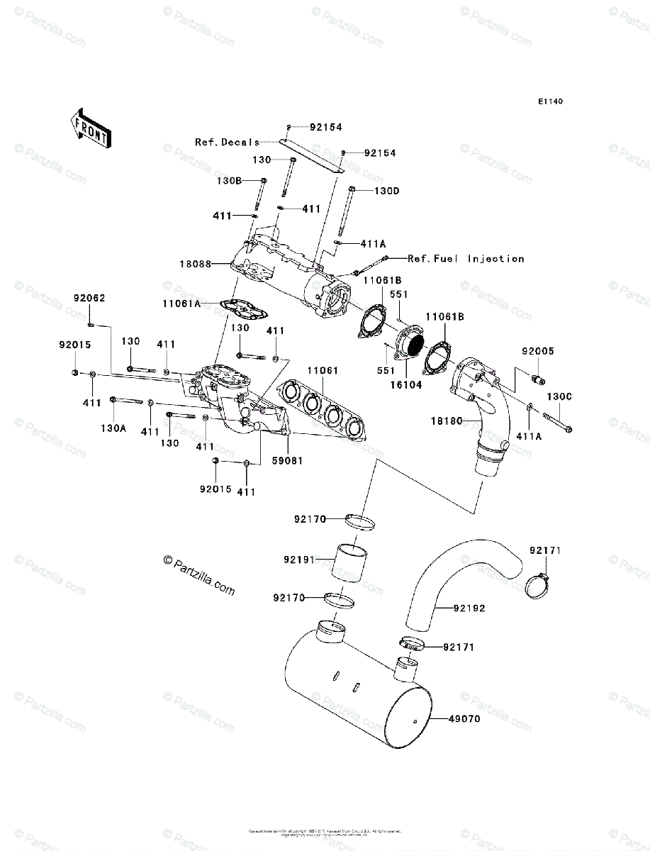 Kawasaki Jet Ski 2011 OEM Parts Diagram for Muffler(s