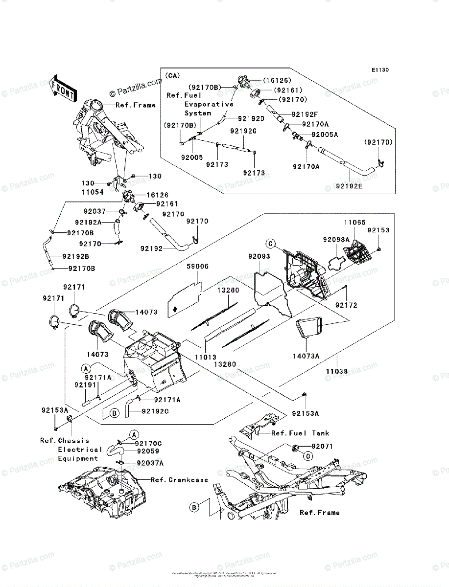 Kawasaki Motorcycle 2010 OEM Parts Diagram for Air Cleaner