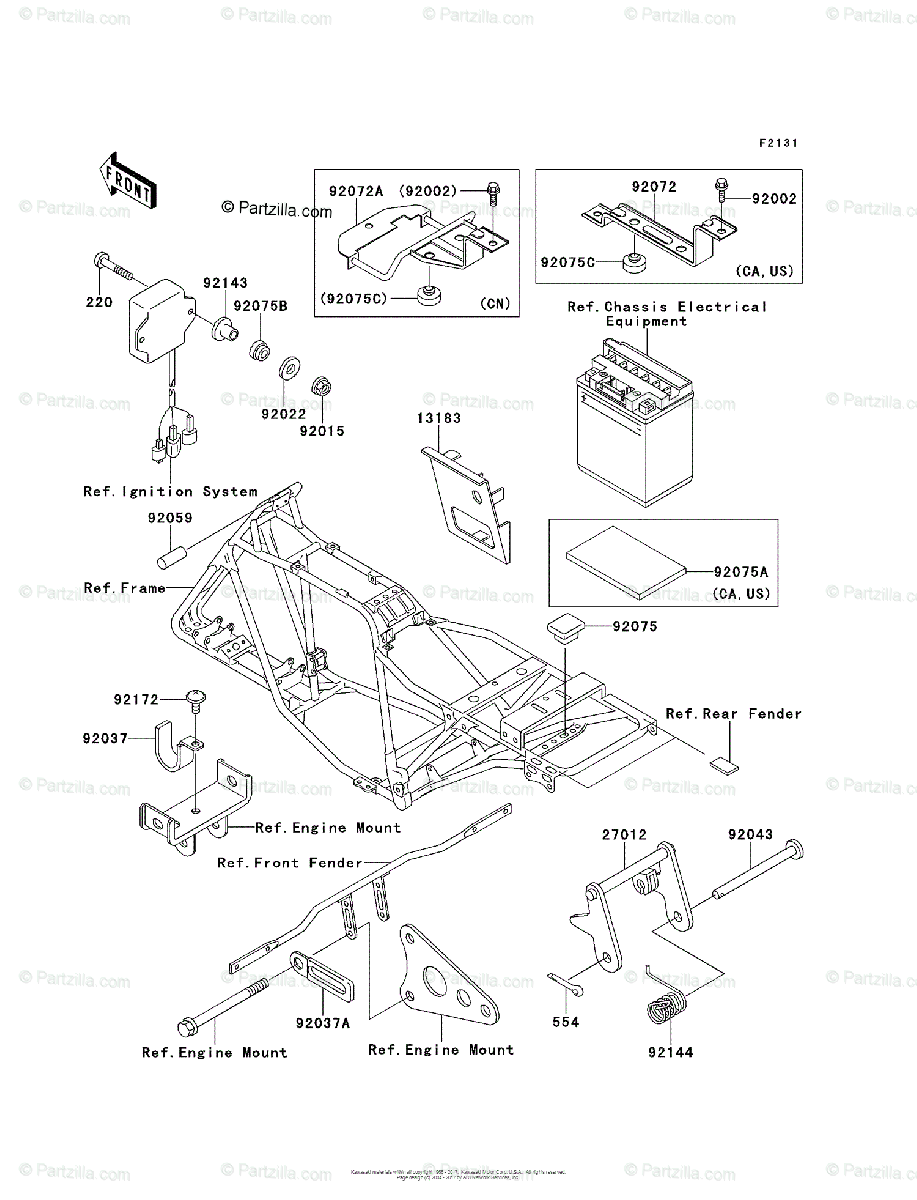 Kawasaki ATV 2003 OEM Parts Diagram for Frame & Fittings