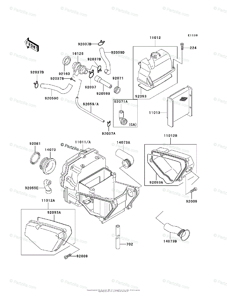 Kawasaki Motorcycle 2002 OEM Parts Diagram for Air Cleaner