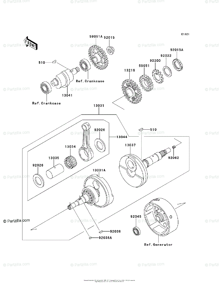 Kawasaki ATV 1993 OEM Parts Diagram for Crankshaft