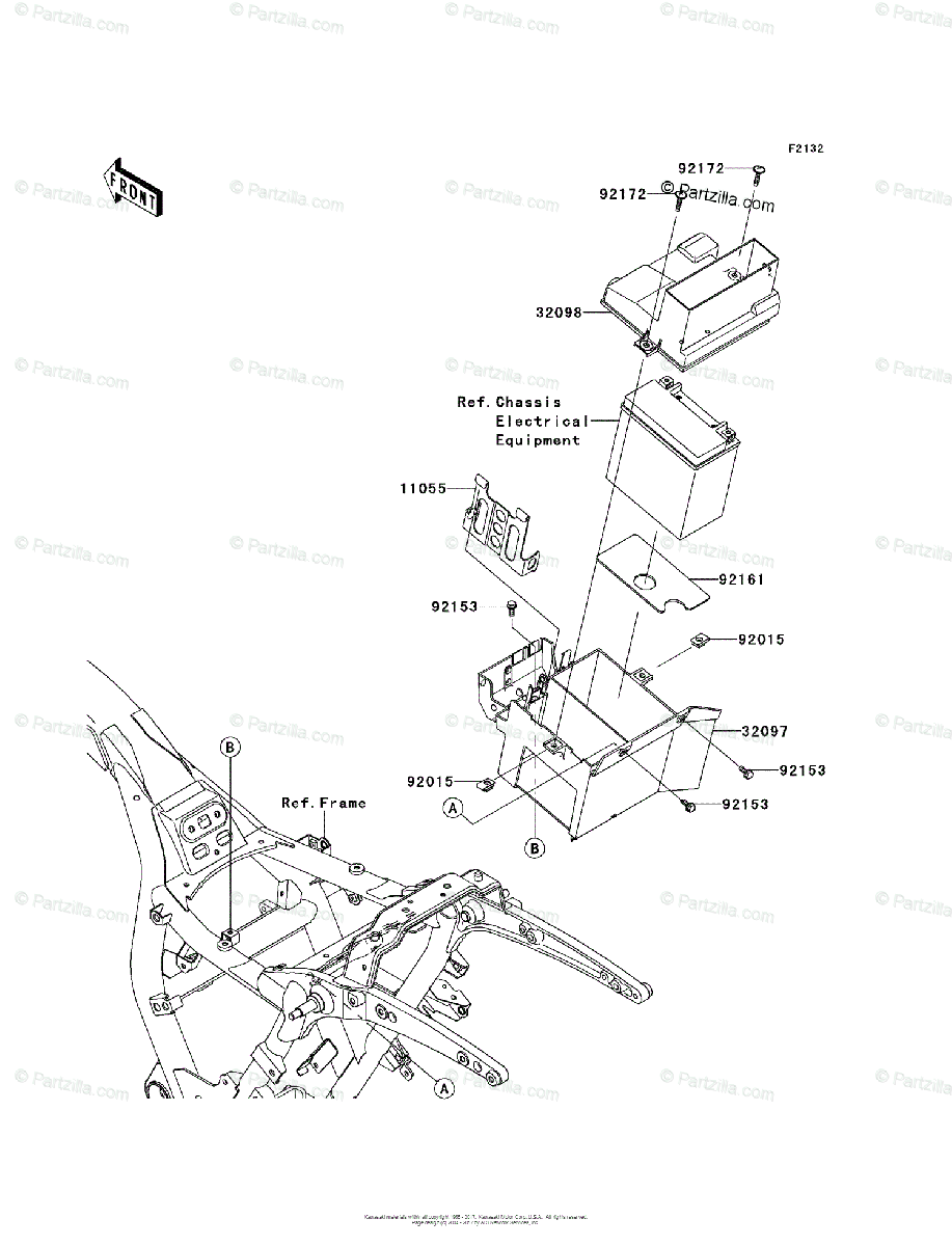 Kawasaki Motorcycle 2012 OEM Parts Diagram for Battery