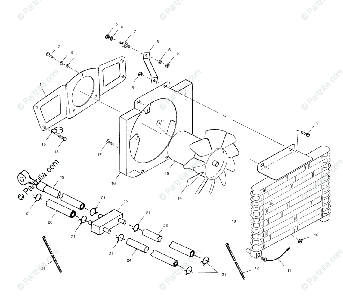 Polaris ATV 1999 OEM Parts Diagram for Oil Cooling System