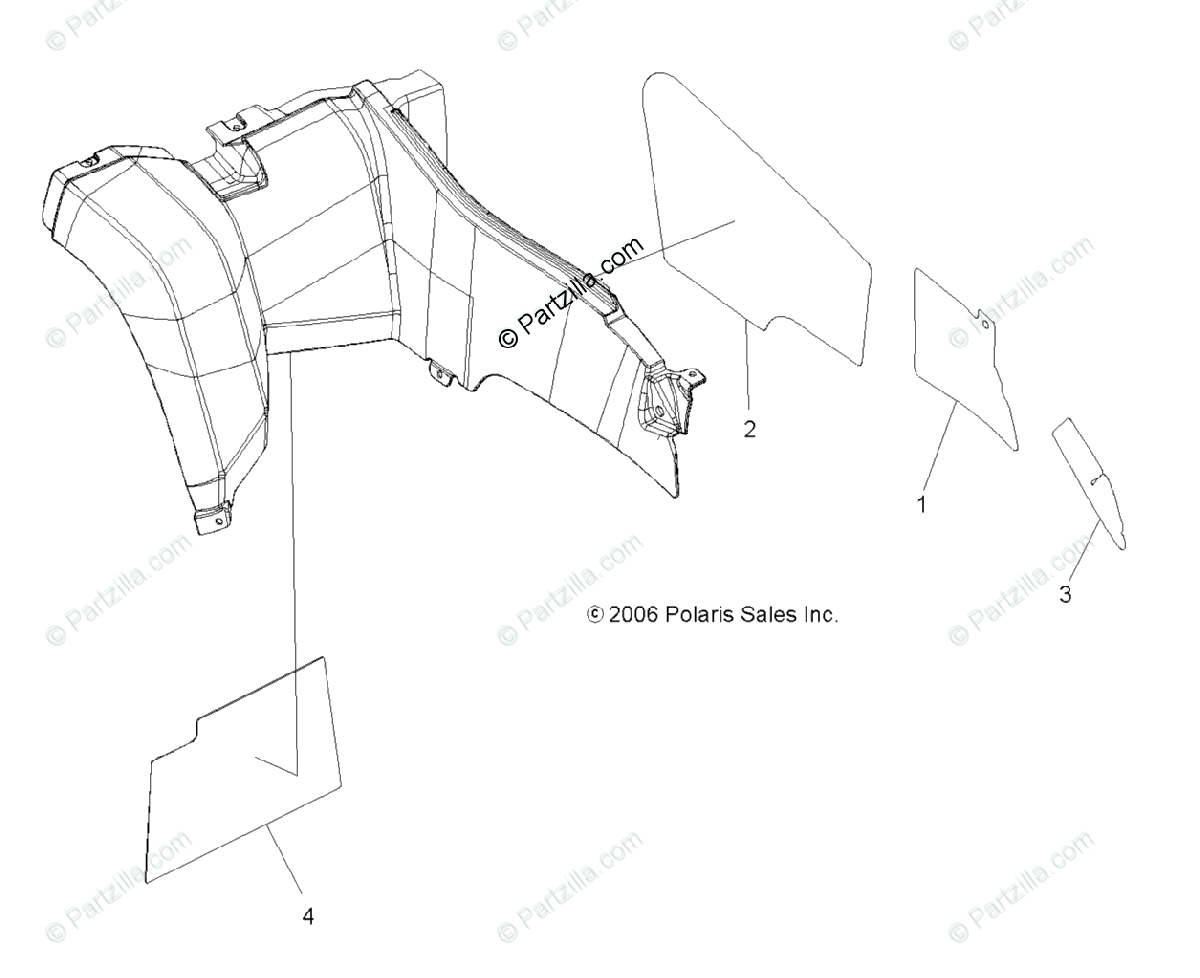 Polaris ATV 2007 OEM Parts Diagram for Cab Foil, Rear