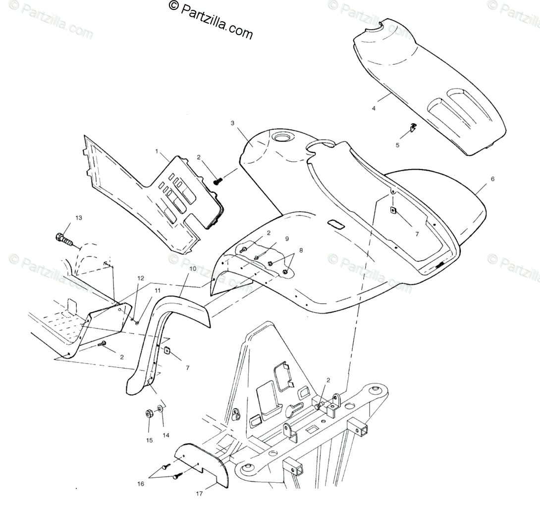 Polaris ATV 2001 OEM Parts Diagram for Front Cab A01cb32aa
