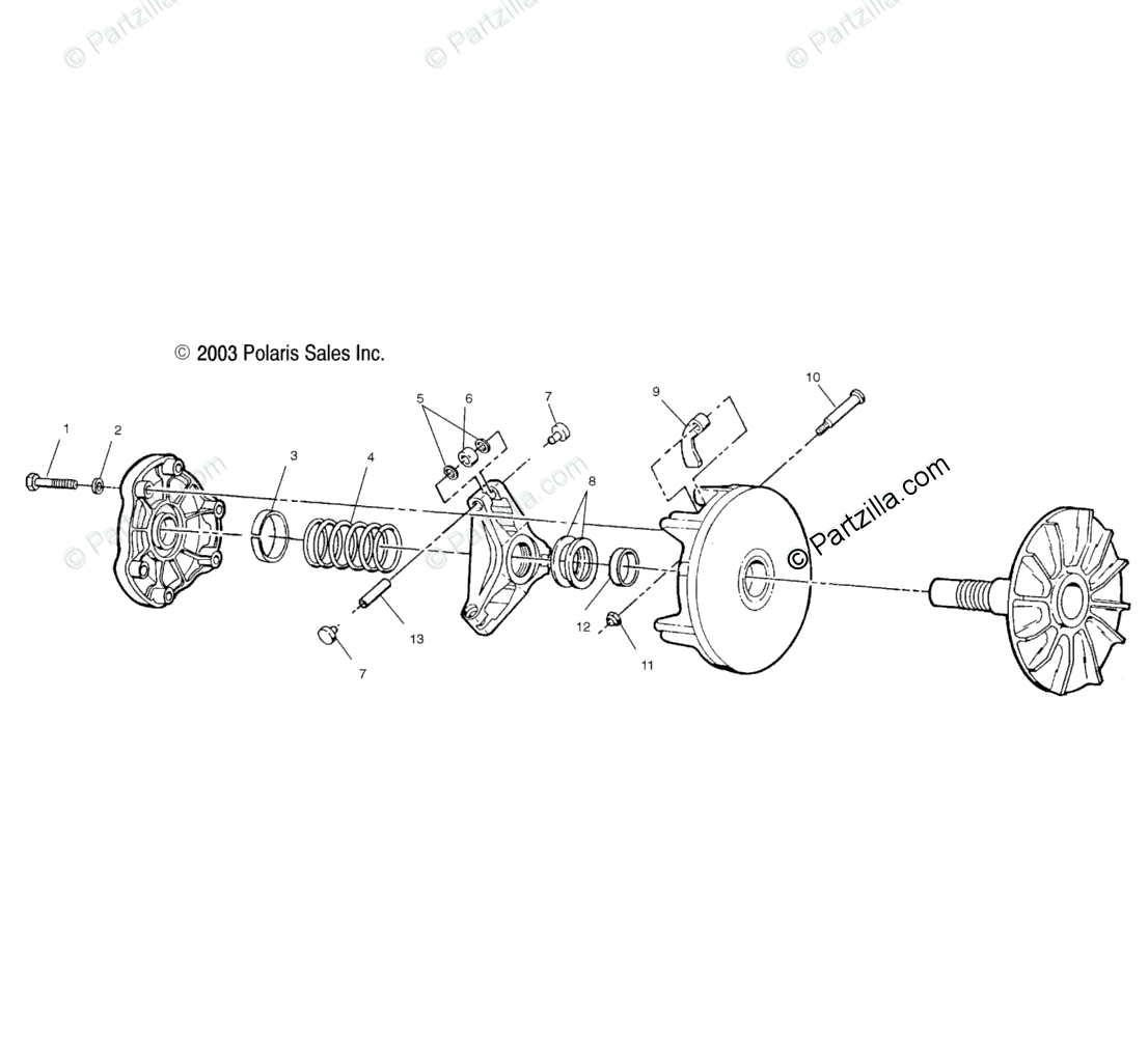 Polaris ATV 2004 OEM Parts Diagram for Drive Clutch