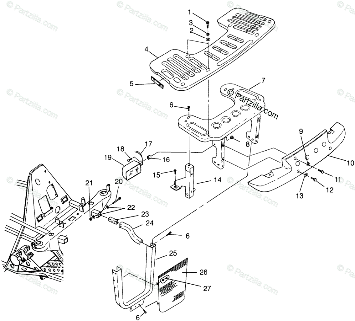 Polaris ATV 1996 OEM Parts Diagram for Front Rack & Bumper