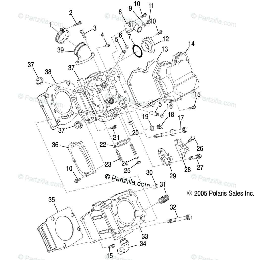 Polaris Side by Side 2006 OEM Parts Diagram for Cylinder