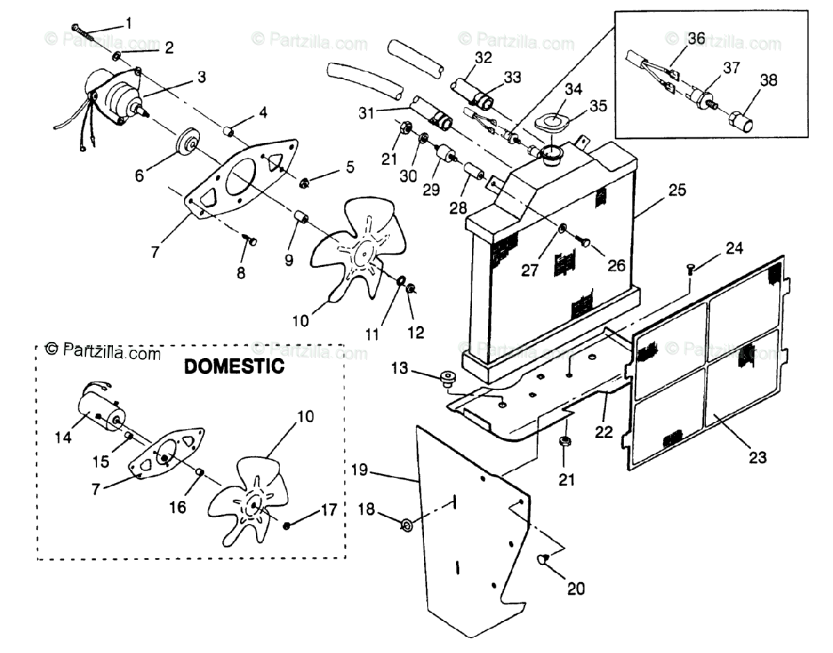 Polaris ATV 1996 OEM Parts Diagram for Cooling System 6X6