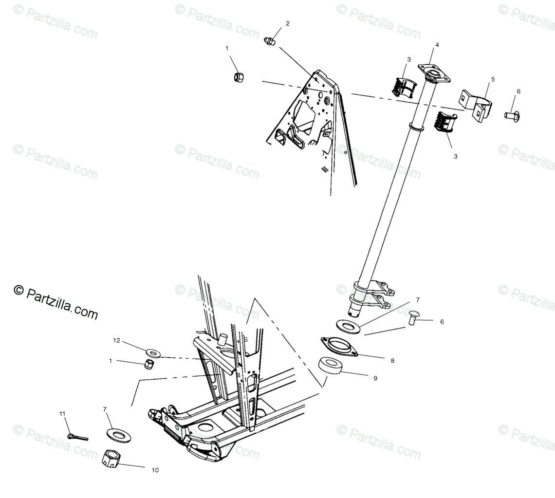 Polaris ATV 2001 OEM Parts Diagram for Steering Post