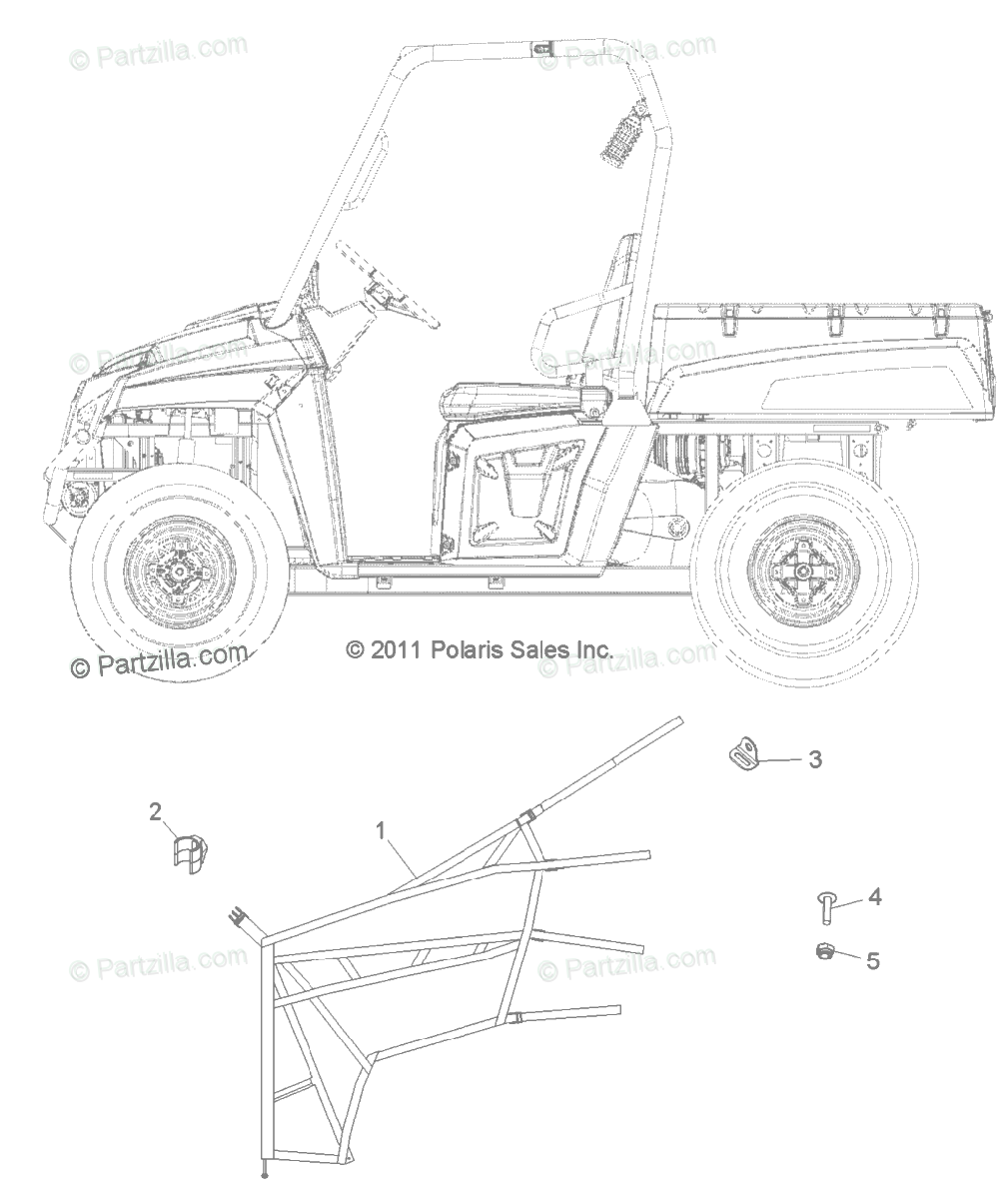 Polaris Side by Side 2013 OEM Parts Diagram for Body, Side