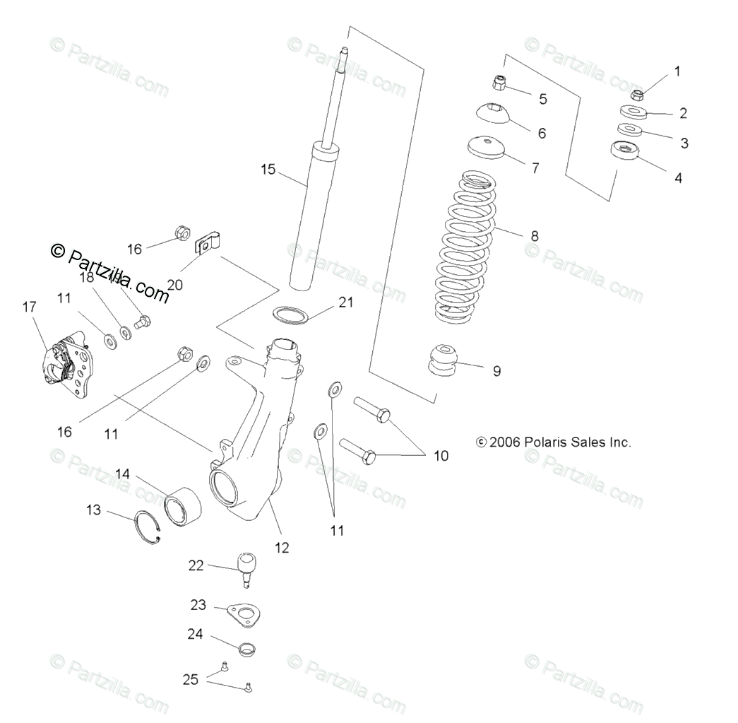 Polaris ATV 2007 OEM Parts Diagram for Suspension, Strut