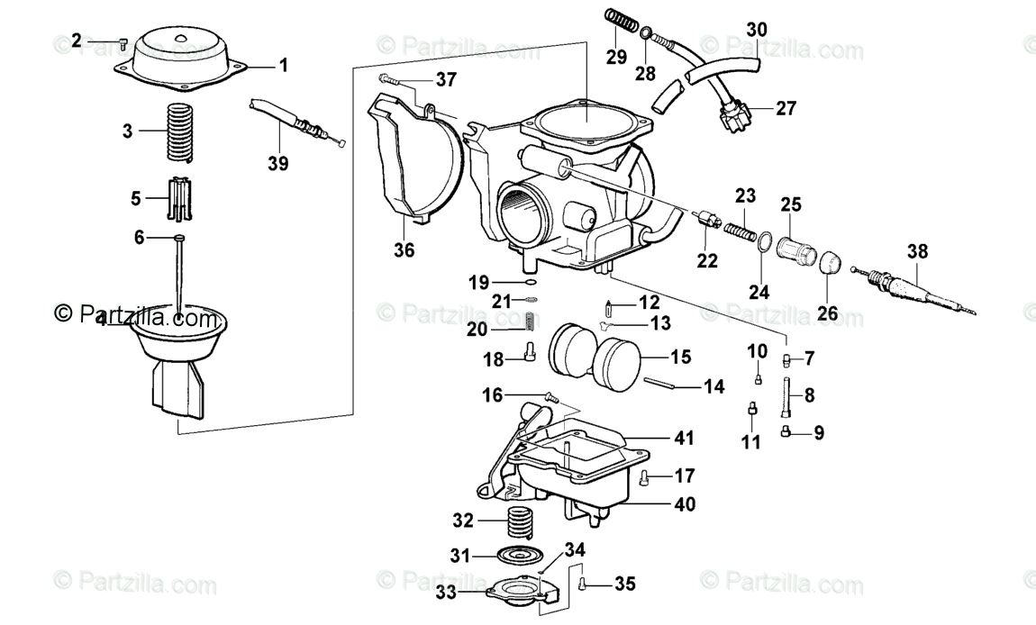 Arctic Cat ATV 2002 OEM Parts Diagram for Carburetor