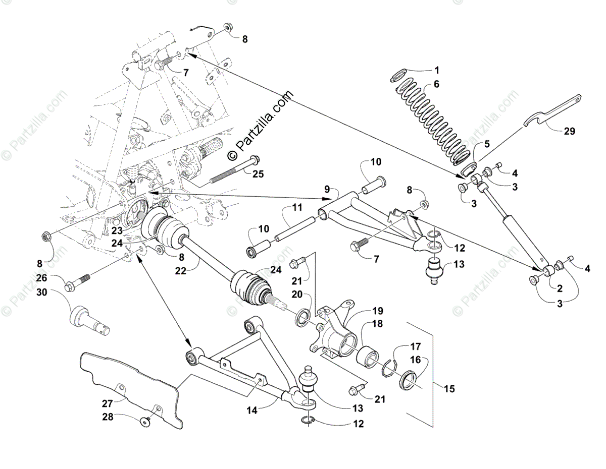 Arctic Cat ATV 2003 OEM Parts Diagram for Front Suspension