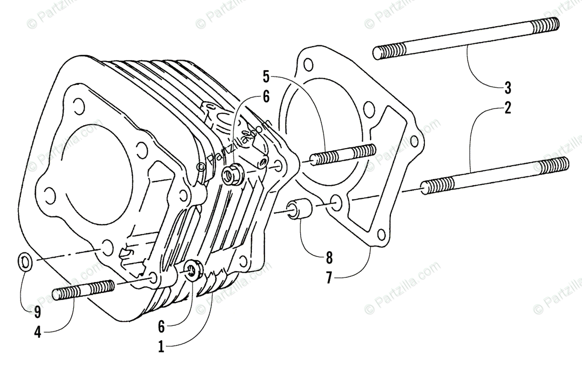 Arctic Cat ATV 2001 OEM Parts Diagram for Cylinder
