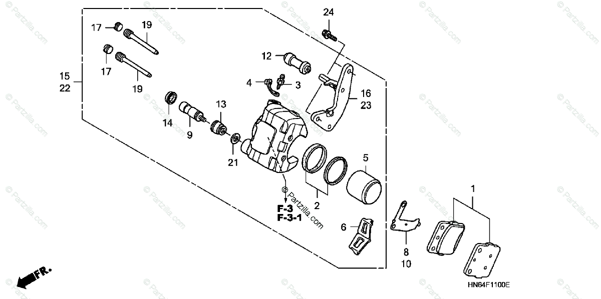 Honda ATV 2007 OEM Parts Diagram for Front Brake-Caliper